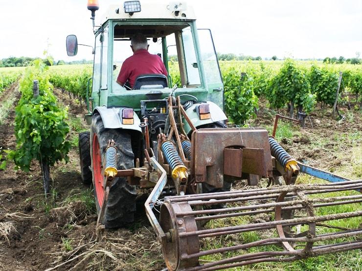 トラクターで畑を耕すところ